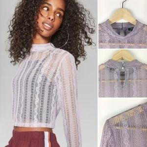 Wild Fable NWOT Lavender Lace Sheer Top SIze M